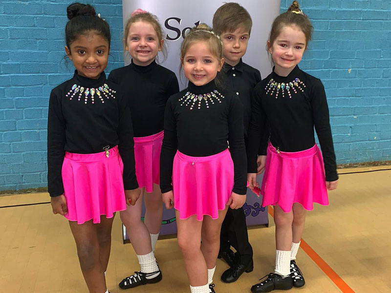 Five Pupils taking part in Irish Dance Competition